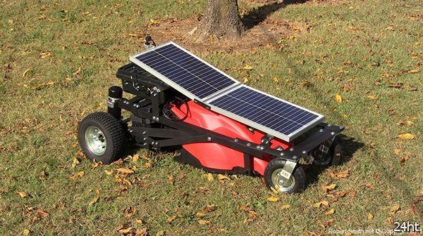 Газонокосилка на солнечных батареях и с дистанционным управлением (видео)