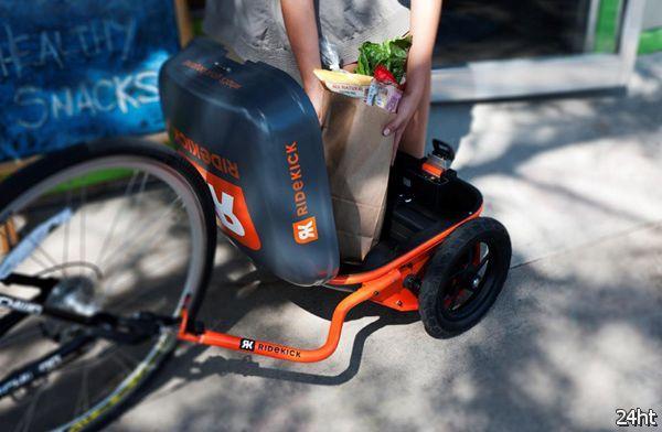 Самоходный прицеп для велосипеда (2 фото + видео)
