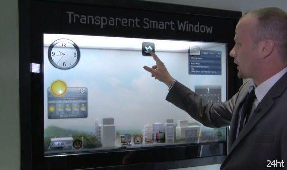 Демонстрация прозрачного дисплея Samsung Transparent Smart Window (видео)