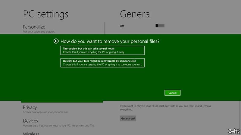 В Windows 8 реализованы функции восстановления и сброса системы