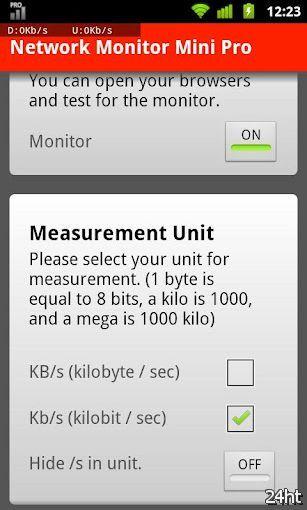 Network Monitor Mini Pro 1.0.33 - Утилита для показа скорости трафика в числовом виде поверх приложений