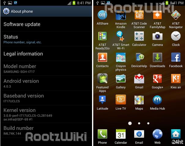 Утечка прошивки Android 4.0 для Samsung Galaxy Note