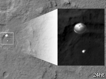 """HiRISE сфотографировал парашют """"Кьюриосити"""" во время спуска"""