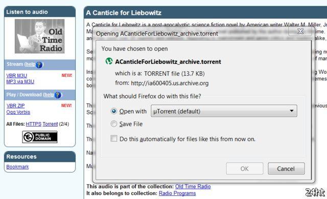 Internet Archive ввёл torrent-ссылки для ускорения загрузки