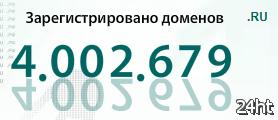 Число доменных имен в зоне .RU достигло четырехмиллионной отметки