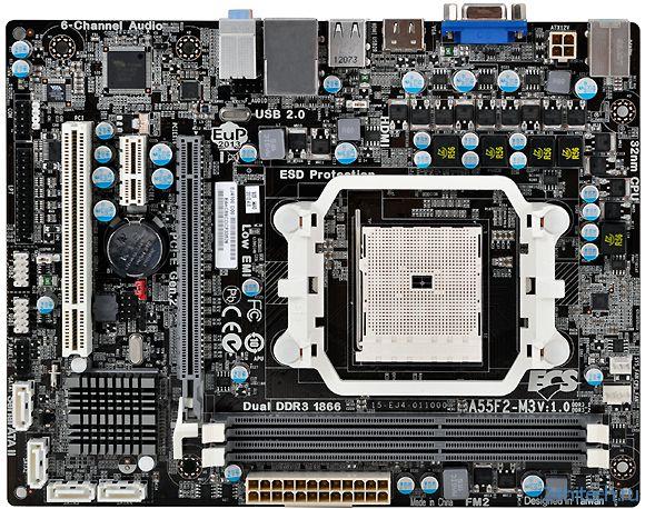 Доступная материнская плата ECS A55F2-M3 (V1.0) для APU AMD Trinity