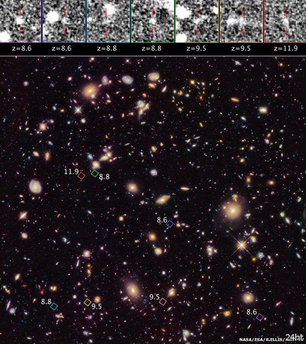 Хаббл нашел сразу семь галактик, зародившихся в эпоху реионизации