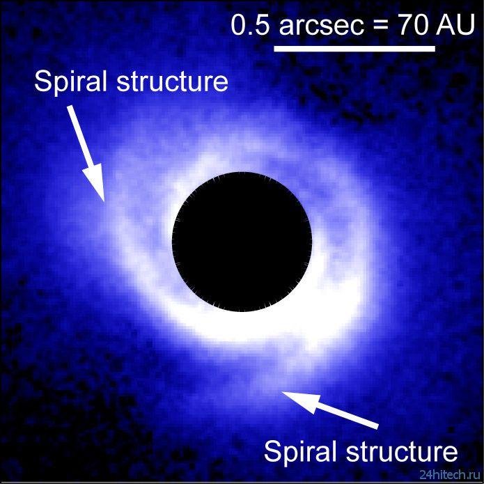 Протопланетный диск вокруг звезды скрывает экзопланеты