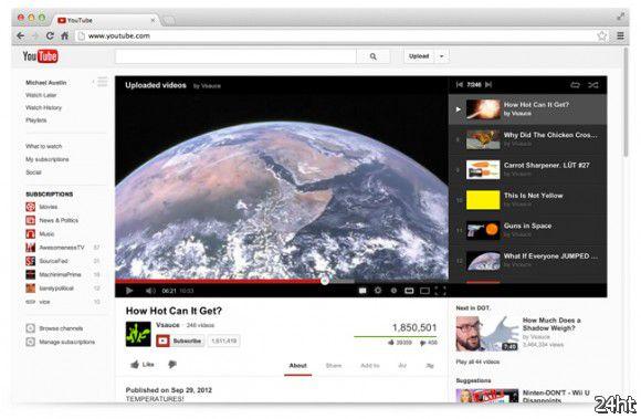 Сервис видеохостинга YouTube получил обновленный дизайн