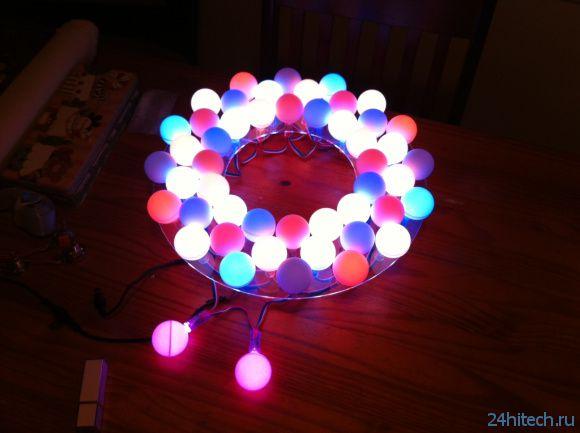 Twitter - светильник из светодиодов, arduino и шариков от пинг-понга