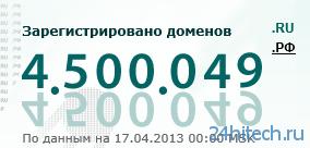 Число доменных имен в зоне .RU достигло 4,5 млн