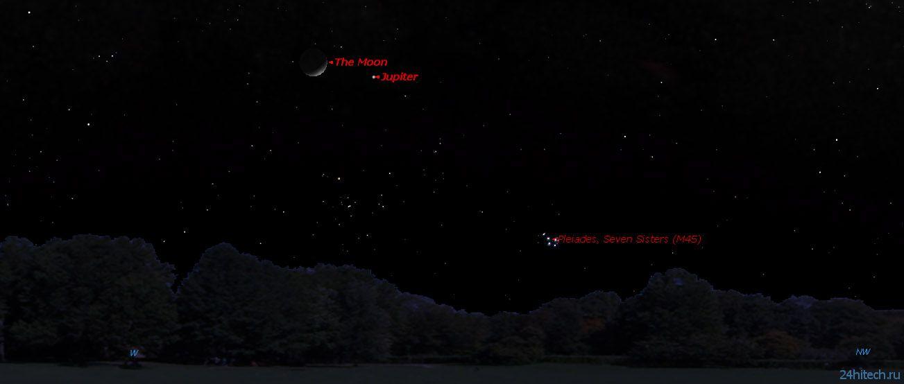 Сегодня вечером Юпитер засияет рядом с Луной