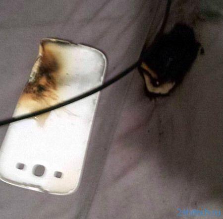 Первый взрыв аккумулятора Galaxy S III (4 фото)