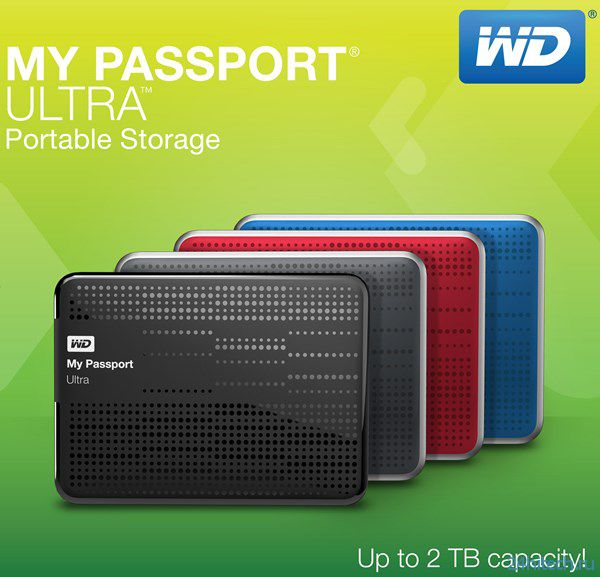 Портативные внешние накопители WD My Passport Ultra объёмом до 2 ТБ