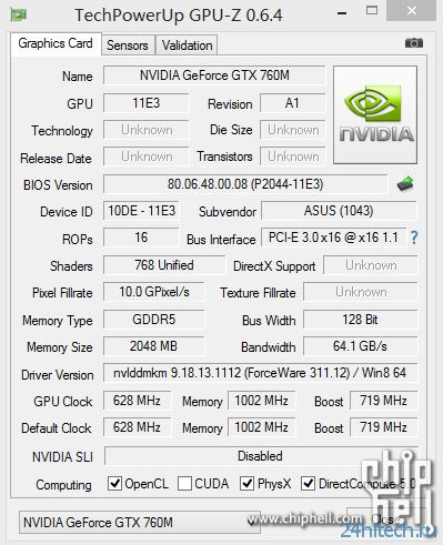 Появились подробности о характеристиках видеокарты Nvidia GeForce GTX 760M