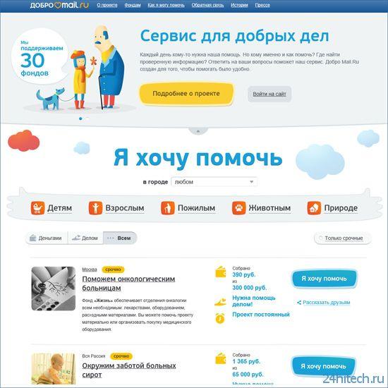 Mail.Ru Group запустила интернет-сервис для добрых дел