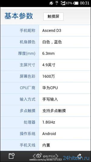 Флагманский смартфон Huawei Ascend D3 получит 8-ядерный процессор