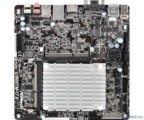 Матплата ASRock Q1900TM-ITX с процессором Intel Bay Trail на борту