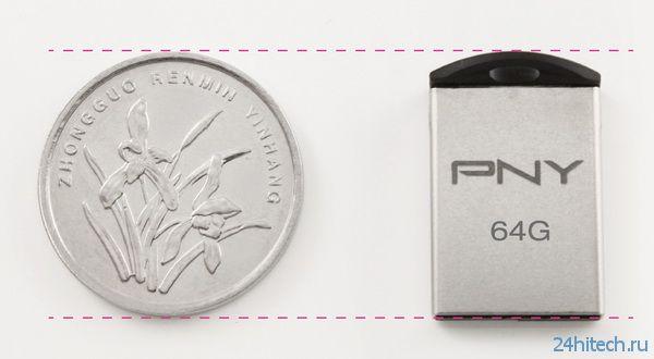 Миниатюрный флэш-накопитель PNY Micro M2 размером с монету