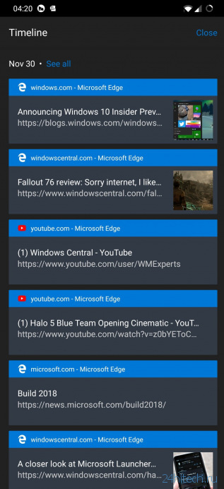 «Временная шкала» запущена в бета-версии Edge для Android